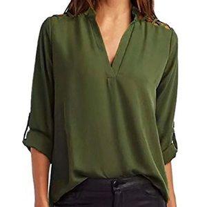Olive V neck casual top